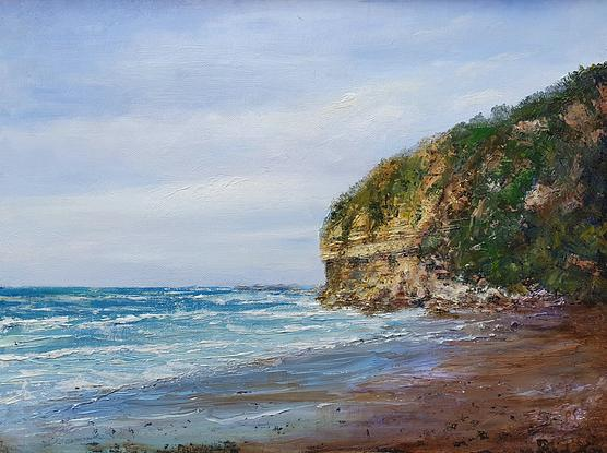 (CreativeWork) Blustery Day Fossil Bluff by Peter Smith. Oil. Shop online at Bluethumb.