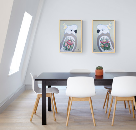 stylized portrait White Cockatoo With king protea Tattoo on neutral background