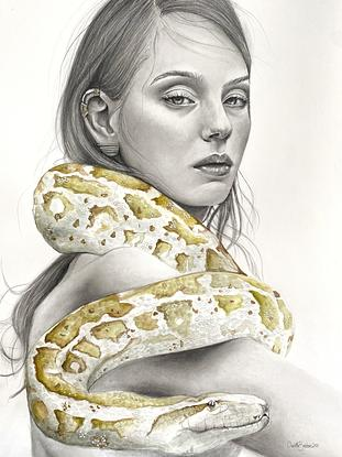 """(CreativeWork) """"Healer"""" - portrait of woman with snake as her spirit animal with gold foil detail by Charlotte Beddoes. Mixed Media. Shop online at Bluethumb."""