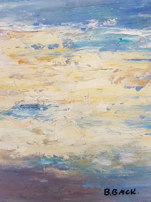 (CreativeWork) Afternoon Serenity. Golden Beach. Qld by Barry Back. Oil. Shop online at Bluethumb.
