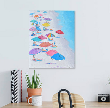 Colourful beach umbrellas, turquoise ocean and people.
