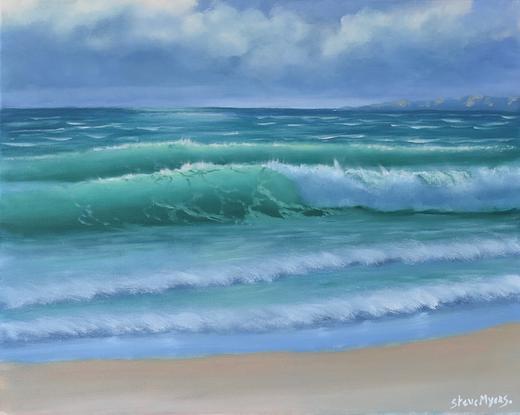 (CreativeWork) Wild beach break  by Steve Myers. Oil. Shop online at Bluethumb.