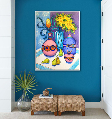 Abstract still life with wattle and banksia original painting by Irina Redine, ready to hang artwork originals