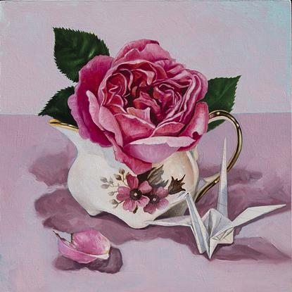 (CreativeWork) Rose Jug by Melissa Ritchie. Oil. Shop online at Bluethumb.