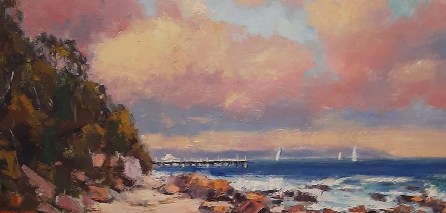 (CreativeWork) The Sun's Last Touch. Shorncliffe. Qld by Barry Back. Oil. Shop online at Bluethumb.