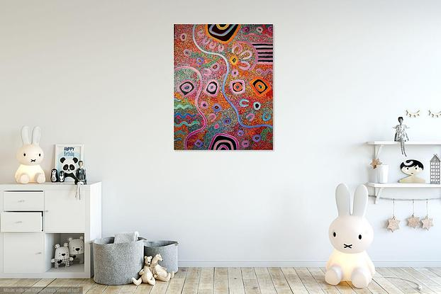 (CreativeWork) Opal Country by T'keyah Ware. Acrylic. Shop online at Bluethumb.