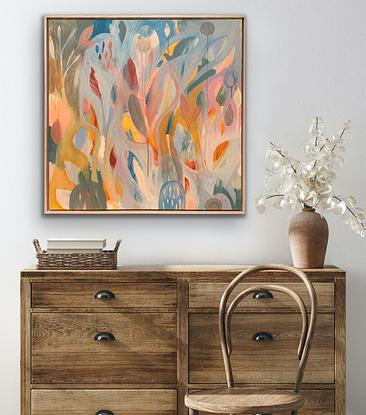 (CreativeWork) Nest (Framed in American Ash) by Jess Racklyeft. Acrylic. Shop online at Bluethumb.