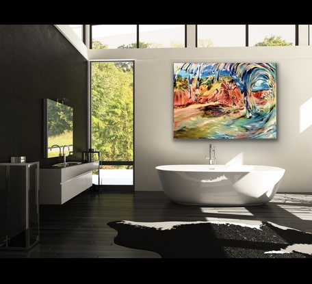 (CreativeWork) Left at Forrester's Beach NSW  by Carmen Jackson Art. Oil. Shop online at Bluethumb.