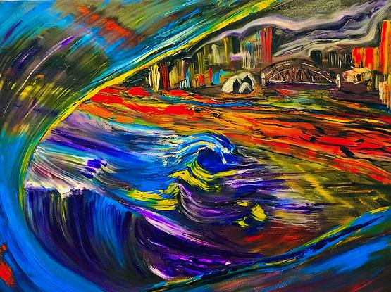 (CreativeWork) Dock of the Bay by Carmen Jackson Art. Oil. Shop online at Bluethumb.
