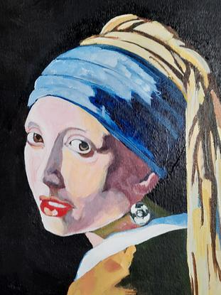 (CreativeWork) Girl with metal earring by David Foster. Acrylic. Shop online at Bluethumb.