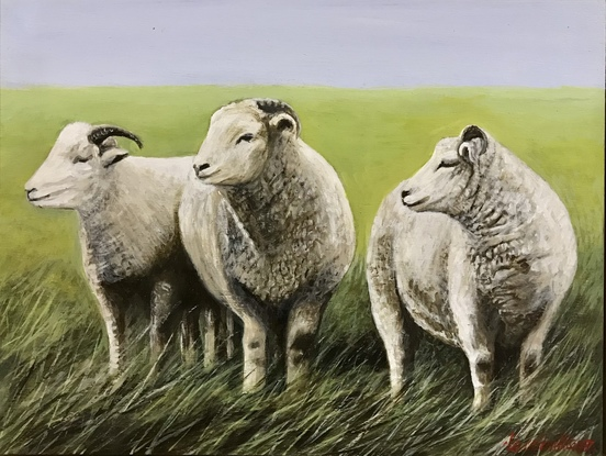 (CreativeWork) A Trinity of Exmoor Horns by LOUISE GROVE WIECHERS. Acrylic. Shop online at Bluethumb.