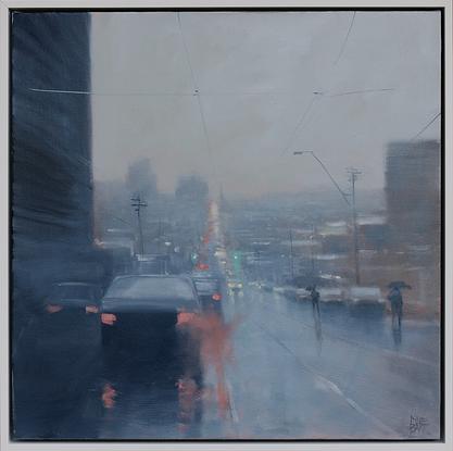 moody rainy cityscape