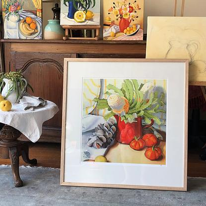 (CreativeWork) (print) Poppies, lemons and blue stripe- ltd ed giclee print,  Ed. 8 of 20 by kirsty mcintyre. Reproduction Print. Shop online at Bluethumb.