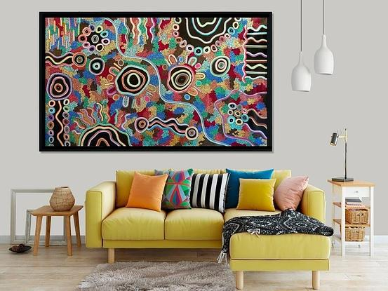 (CreativeWork) Sharing Stories On Country  by Kelilah Taylor-Ware. Acrylic. Shop online at Bluethumb.