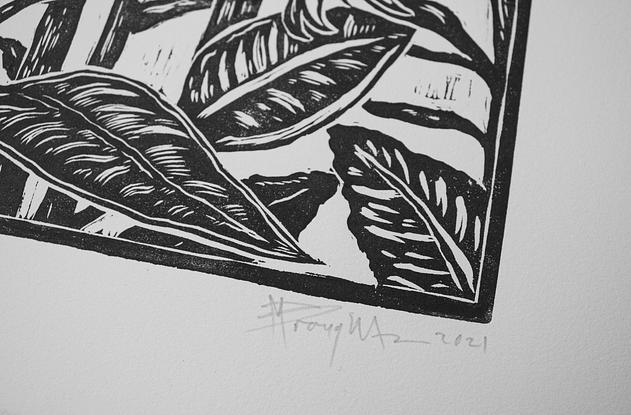 (CreativeWork) Sunflowers linocut Ed. 1 of 20 by Matthew Broughton. Reproduction Print. Shop online at Bluethumb.