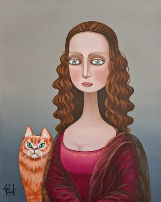 Surrealistic portrait of young  woman (Mona Lisa ) with cat