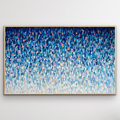 (CreativeWork) Color wave 206x126 framed large textured abstract by Sophie Lawrence. Acrylic. Shop online at Bluethumb.