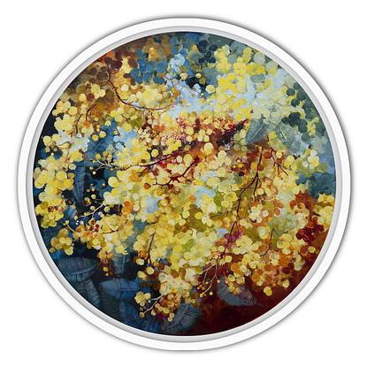 (CreativeWork) No6 from Golden Wattle Series by Gosia Orzechowska. Acrylic. Shop online at Bluethumb.