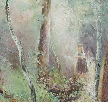 Painting of an Australian gum tree forest with a girl walking along a path.