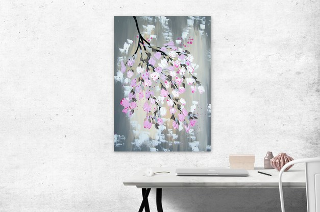 """This stunning painting features a romantic combination of sophisticated colours and textured blossoms!  It was created by Australian Artist' Catherine Jacobs  It is restful yet joyous.   It arrives """"ready to hang""""straight out of the box- a hanging wire is attached already for you.   (It does not need a frame, unless you prefer to add one. )  The canvas has sustainable wood inside it.  The paint is high quality acrylic."""