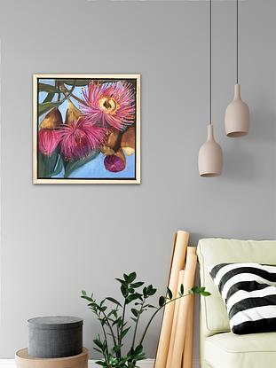 Blooming pink eucalyptus painted with acrylic. Framed in a wood frame.