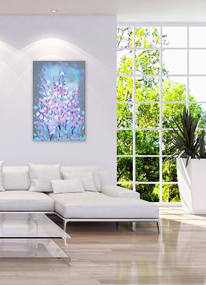 """This stunning painting features a romantic combination of fresh colours and textured blossoms!  It was created by Australian Artist' Catherine Jacobs  It is restful yet joyous.   It arrives """"ready to hang""""straight out of the box- a hanging wire is attached already for you.   (It does not need a frame, unless you prefer to add one. )  The canvas has sustainable wood inside it.  The paint is high quality acrylic."""