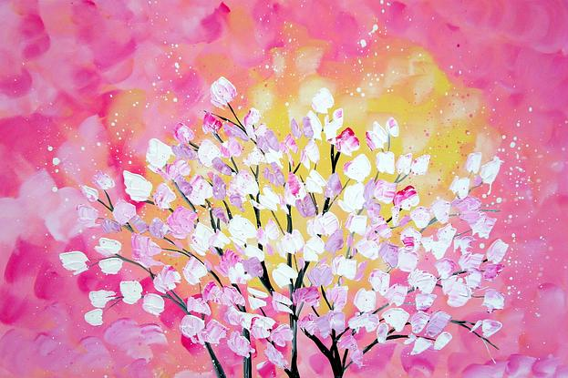 This is a striking painting with tasteful colours.     It will add a beautiful statement to your home.  The flowers are textured!  +++++++++++++++++++++++++++++++++++++++++++  SIZE:   This is a LARGE canvas. It is 36 inches x 24 inches (91cm x 60cm ).    It is 0.6 inches (1.5 cm ) deep   Please use the measurements rather than the photos to judge the size.   +++++++++++++++++++++++++++++++++++++++++++  EXTRA INFO:  * Sides are always painted and staples are always in the back.   * The canvas has sustainable timber supports inside it.   * I take pride in ensuring that all of my creations are exceptional!