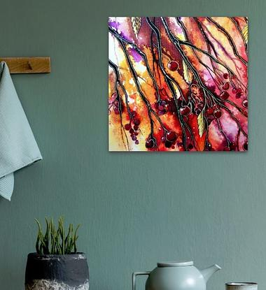 Berries and fruit trees on canvas