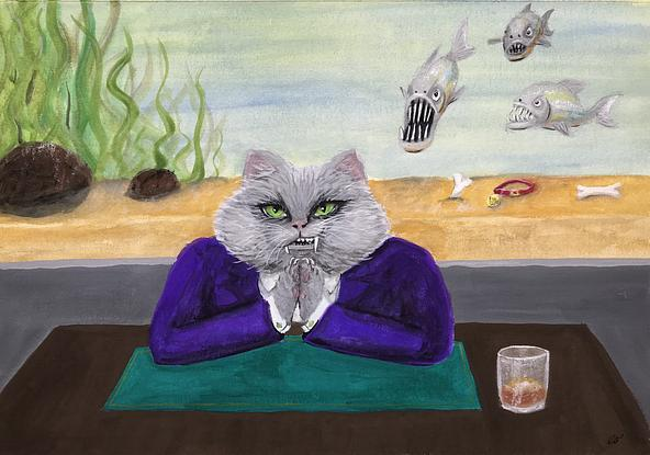 A Fat Cat who looks much like a mobster in his bright purple suit sits at a desk with his paws rubbing together and a sinister smirk on his face, in the background the whole wall is taken up with a  big fish tank which has 3 piranha's in it.  On the bottom of the tank a couple of bones and a dog collar with the name tag fido can be seen. Paper size: ~41.7cm x 29.5cm.  Painted area: ~39.5cm x 27.5cm