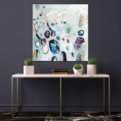 This is a semi abstract depiction of an outback landscape. The composition consists of organic /round shapes which represent Australian opals . The main colour is a pastel jade with black, blue and magenta highlights.  This painting is part of my new series titled OUTBACK. s. These have been inspired by my travels to outback NSW before lockdown. Here the trees are sparser and more simplified. The colours are more dominant in the objects in the landscape. The surroundings are pastel tones. The subject matter is semi-abstract landscapes. Organic shapes dominate the composition. This is a beautiful series. It is contemporary and incorporates my wonderful lollipop trees. All these paintings relate to the land and the energy it provides us.  The large organic shapes which dominate the compositions are sometimes opals, stones, ponds, and treetops.  These organic shapes also can be found in my other series: Coastal and Falling gems. I can't remember a time in my artistic career where I did not paint trees. Trees are a constant source of joy and inspiration in my art. I just love them.