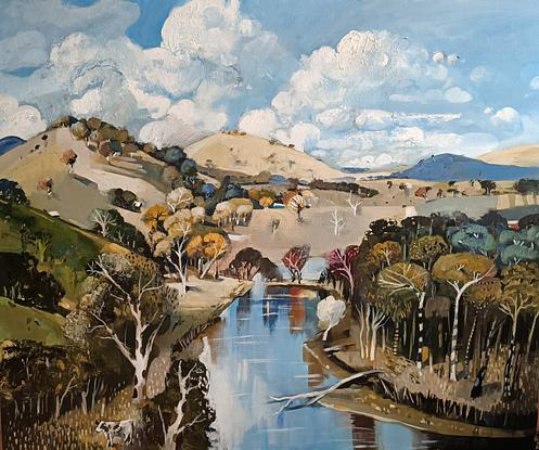 Australian rural scene with Mountains, trees and cows