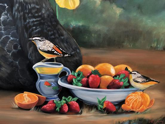 Swan and rabbit in a landscape with bowl of fruit.