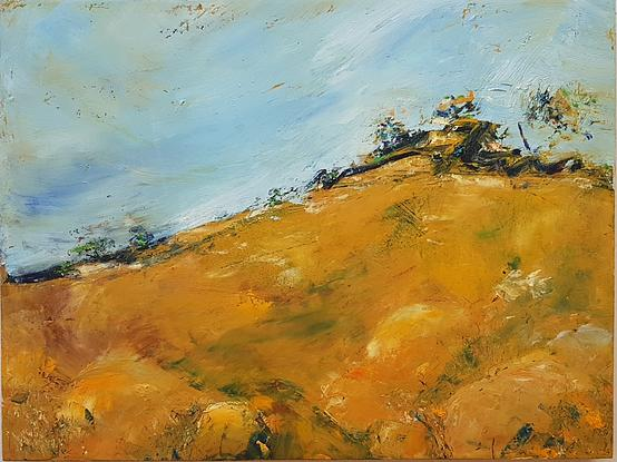View up a yellow grass & boulder hill to  a windswept top against a blue sky.