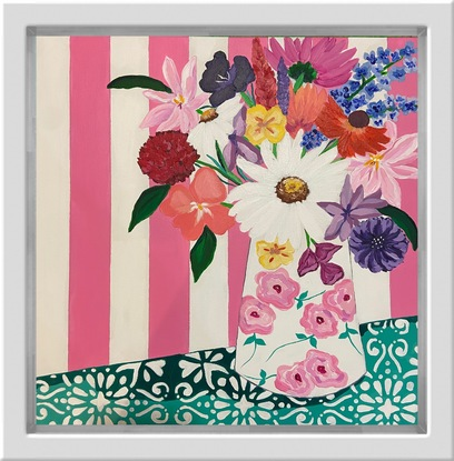 Pretty abstract flowers in a hand painted vase