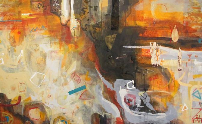 Large scale, orange and red landscape, diptych