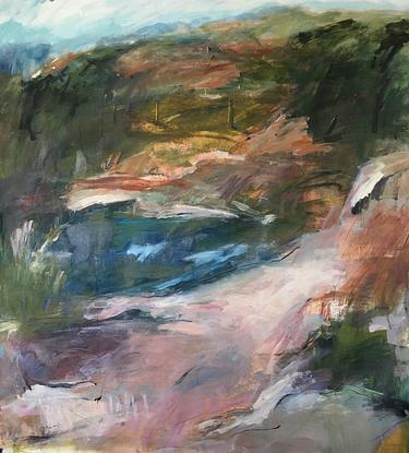 Old quarry painted expressively, Australiana colours