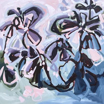 Beautiful flowers in expressive abstract style in purple, mauve, pinks, blue and green on a square canvas.