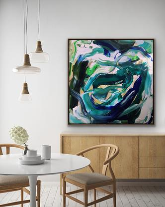 Large Flowing colourful abstract. Deep blues greens and white. The ocean