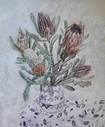 Still Life with Banksias and Protea