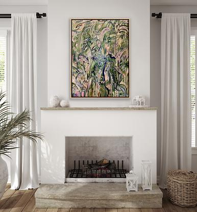 Expressive marks and impressions of a tropical rainforest track with gold leaf highlights.  Contemporary and modern.