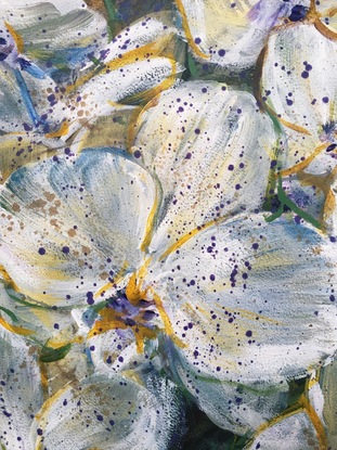 No one loves you like the way I do - White Orchids By Hsin Lin 18/11/2018.  Artwork size -29.5*42*0.1 cm  Original artwork on paper <br>  Affirmation - When you are afraid to lose something or someone, it is the proof of you already have it in your hand.  Don't be afraid to love.  <br> White orchid stands for innocence, beauty and elegance. The colour white also signifies reverence and humility. -WILD BOTANICAL ABSTRACT SERIES 2018 by H.Lin-  <br> This particular painting is inspired by a gathering with one of my close friends, who paid us a visit from overseas. <br> Love have always been a complicated subject to me, and it comes in many different kinds of form.  True love is not always about red roses every day, in the contrary, there's mutual understanding, empathy, communication, caring and sometimes struggles involved. No matter it is pleasant or not, every emotion is real and true, and those are all the proof that we are having love right here right now.  It may not easy to love, but we never stop trying. White Orchids that we encountered that day is the flower I chose to salute the great love that showed by my dear friend to his beloved partner.  <br> Artwork inspired by a stunning flower arrangement in East Melbourne, Victoria, Spring 2018.   <br> Thank you for stopping by my Original Artwork.  I am HSIN LIN, an Artist based in Melbourne Australia, obsessed with the beauty of flowers.  I believe there's no coincidence in this big wide world, every little thing is meant to be.  Welcome to have a look of my profile if you love what I do, give me a follow for my latest art, or even find your favourite artwork of mine to accompany your beautiful life journey.  Hope you enjoy the colourful world in my floral painting as much as I do too. Warmest regards,  H.Lin.  <br> Enjoy the time lapse video of this Original artwork welcome to visit the link below:  https://www.youtube.com/watch?v=WBdXbcOM9bI