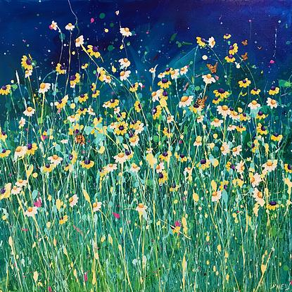 A field of daisies with butterflies.