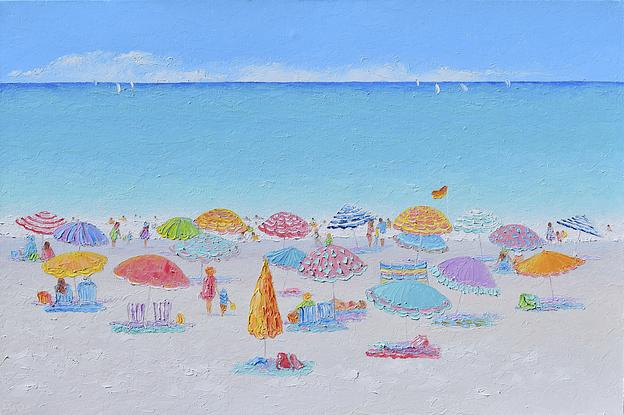 A thickly textured oil painting of colourful beach umbrellas and a turquoise ocean.