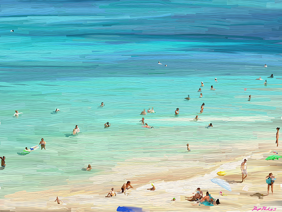 People on a crowded beach in summer
