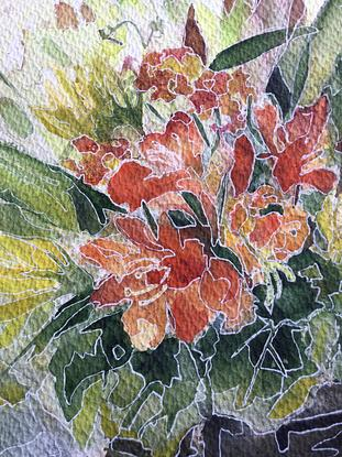 Part of nature and background as one- stained glass effect. Picture in temporary passe partout