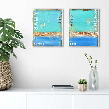 40x25cm Small Textured Abstract Beach Pop Art Landscape Seascape Diptych Painting