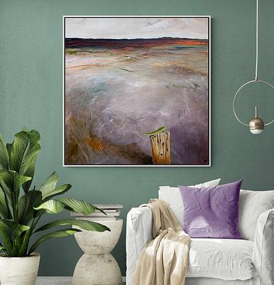 Mauve  and earthy landscape with feature of detailed green leaf