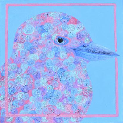 Floral kookaburra on a blue background.