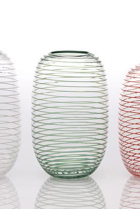 Tall, rounded clear glass vase with opaque green spiral