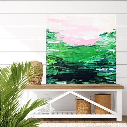 green textured abstract artwork with pink accents
